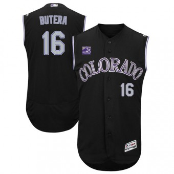 Authentic Colorado Rockies Drew Butera Majestic Flex Base Alternate Collection Jersey - Black