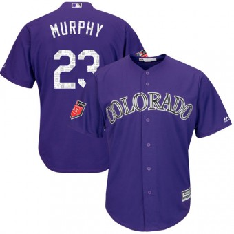 Replica Colorado Rockies Tom Murphy Majestic Cool Base 2018 Spring Training Jersey - Purple